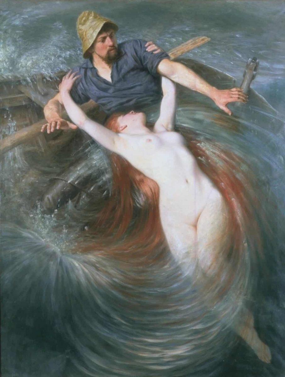"""Die Sirene: Sie sprach zu ihm, sie sang zu ihm; da war's um ihn geschehn: Halb zog sie ihn, halb sank er hin und ward nicht mehr gesehn. (""""Der Fischer"""" von Johann Wolfgang von Goethe, 1779). Abbildung: Knut Ekwall, The Fisherman and The Siren Enmerkar, Wikimedia Commons"""