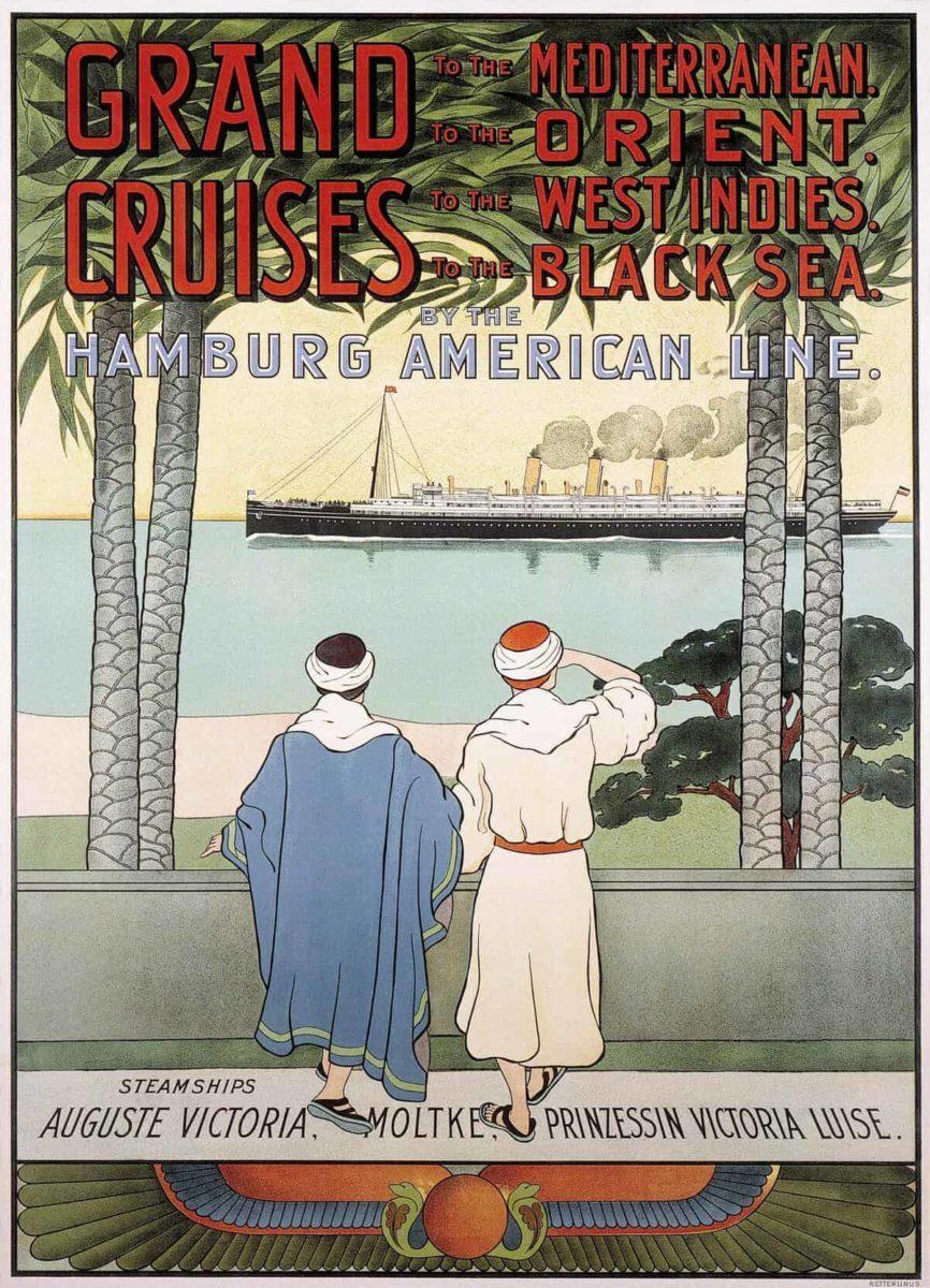 Werbeposter für die Kreuzfahrten mit den Schiffen Auguste Victoria, Moltke und Prinzessin Victoria Luise. Foto: Hapag-Lloyd AG, Hamburg