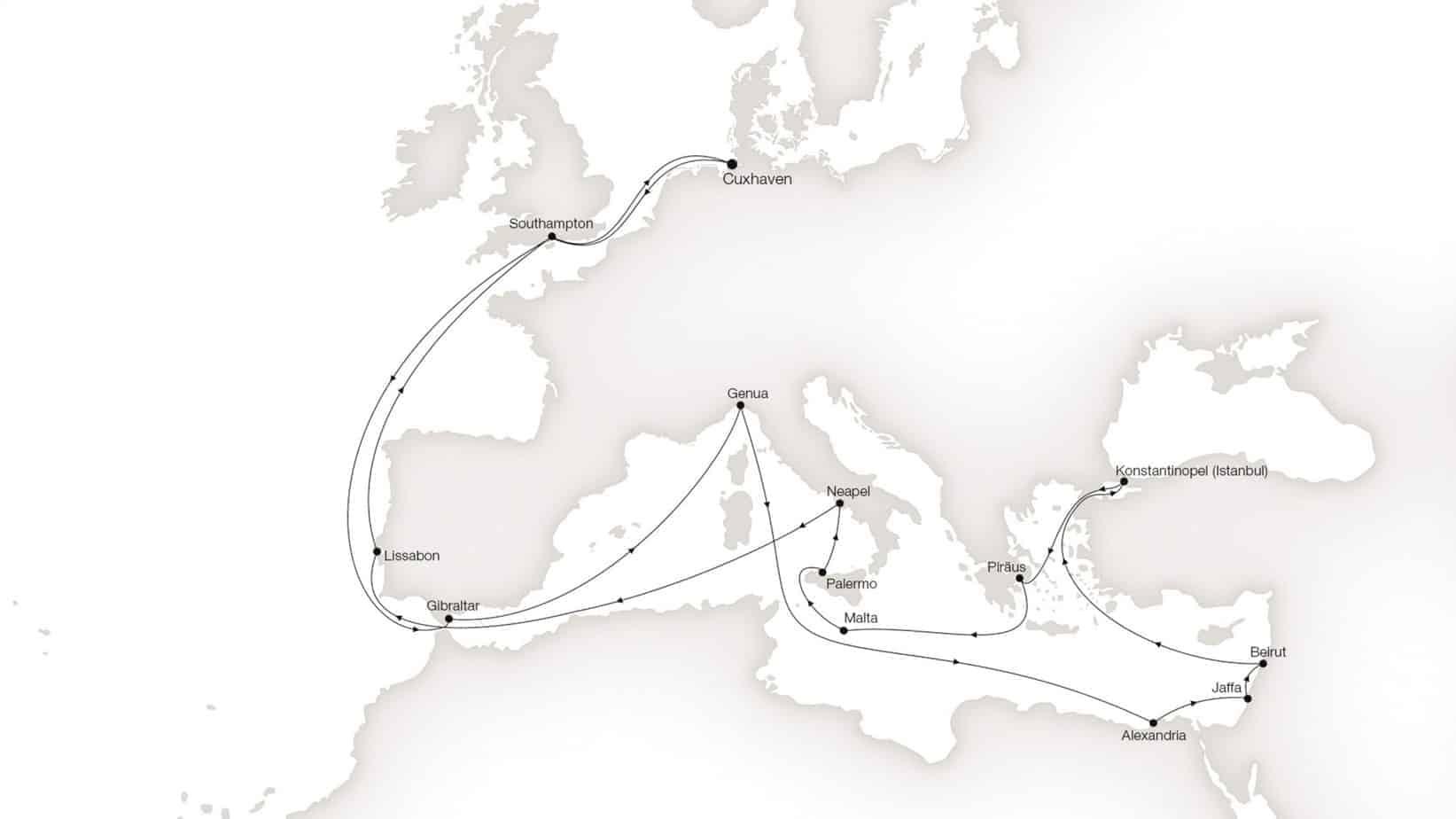 Die erste Route in der Geschichte der Kreuzfahrt. Foto: Hapag-Lloyd AG, Hamburg